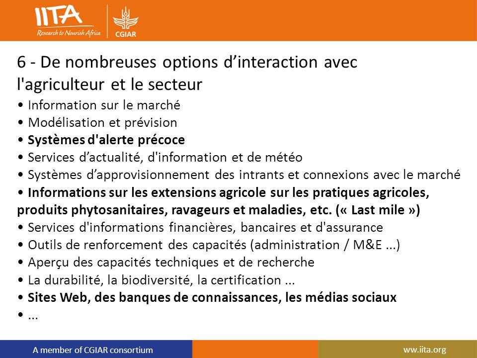 A member of CGIAR consortium 6 - De nombreuses options dinteraction avec l'agriculteur et le secteur Information sur le marché Modélisation et prévisi