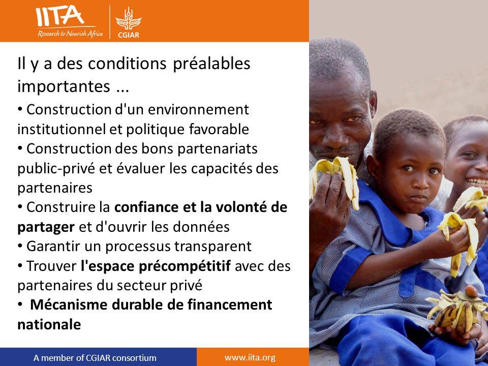 A member of CGIAR consortium Il y a des conditions préalables importantes... Construction d'un environnement institutionnel et politique favorable Con
