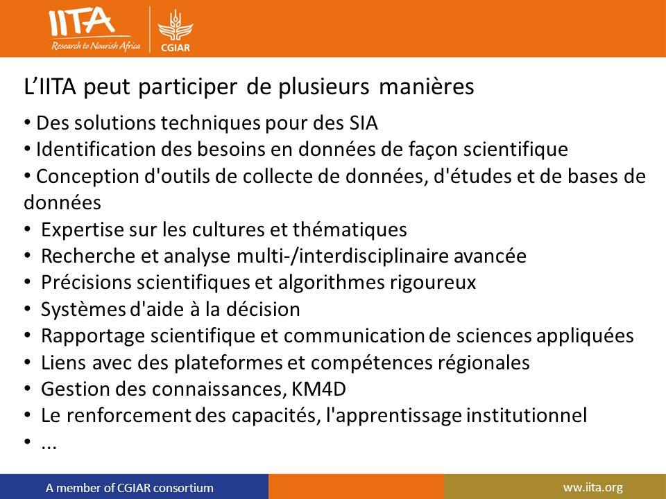 A member of CGIAR consortium LIITA peut participer de plusieurs manières Des solutions techniques pour des SIA Identification des besoins en données d