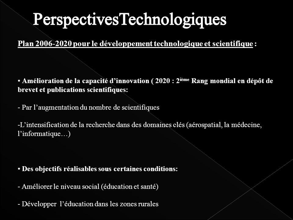 Plan 2006-2020 pour le développement technologique et scientifique : Amélioration de la capacité dinnovation ( 2020 : 2 ième Rang mondial en dépôt de