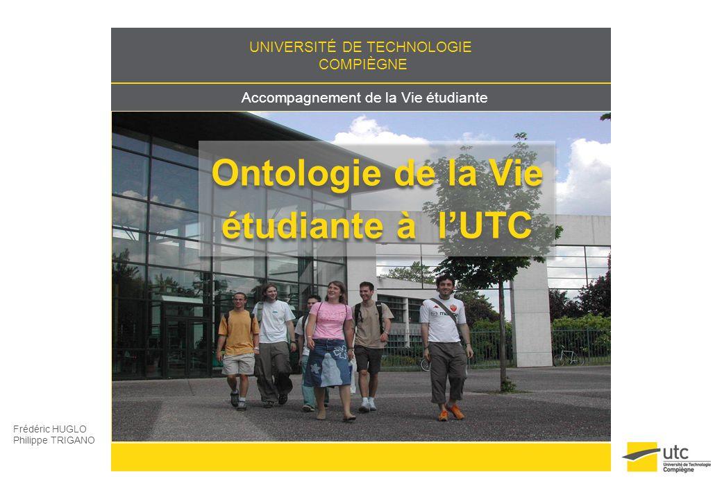 Accompagnement de la vie étudiante Frédéric HUGLO Philippe TRIGANO Eléments de vie étudiante à lUTC Environnement Organisation Animation Valorisation