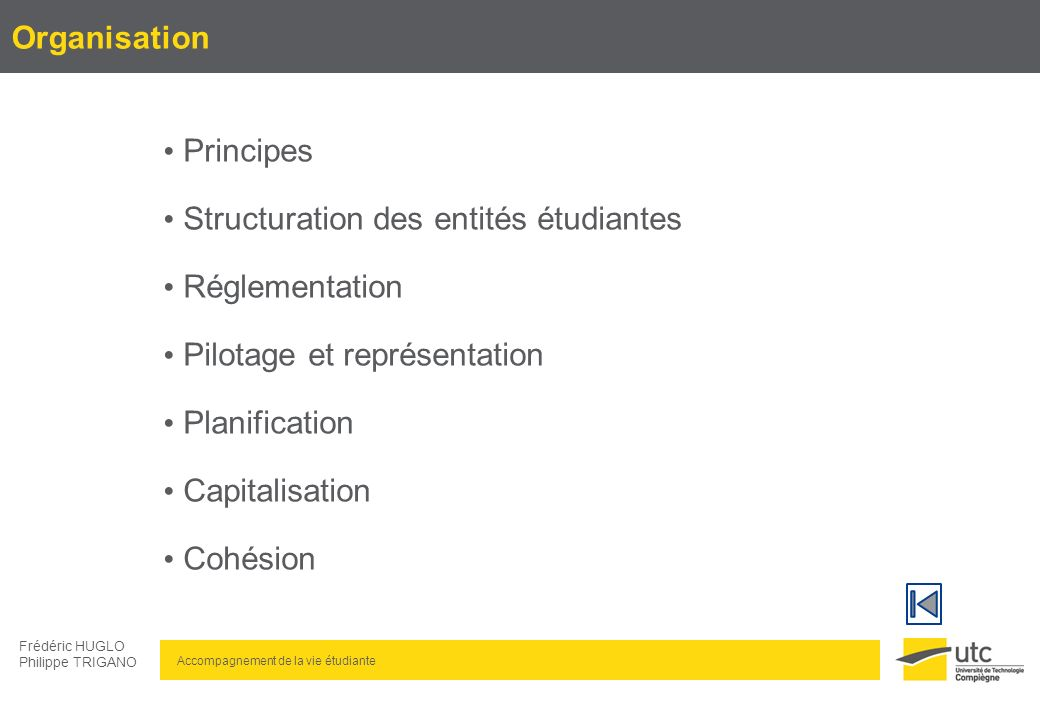 Accompagnement de la vie étudiante Frédéric HUGLO Philippe TRIGANO Organisation : Principes Volontariat Dignité Santé Sécurité Création dune charte