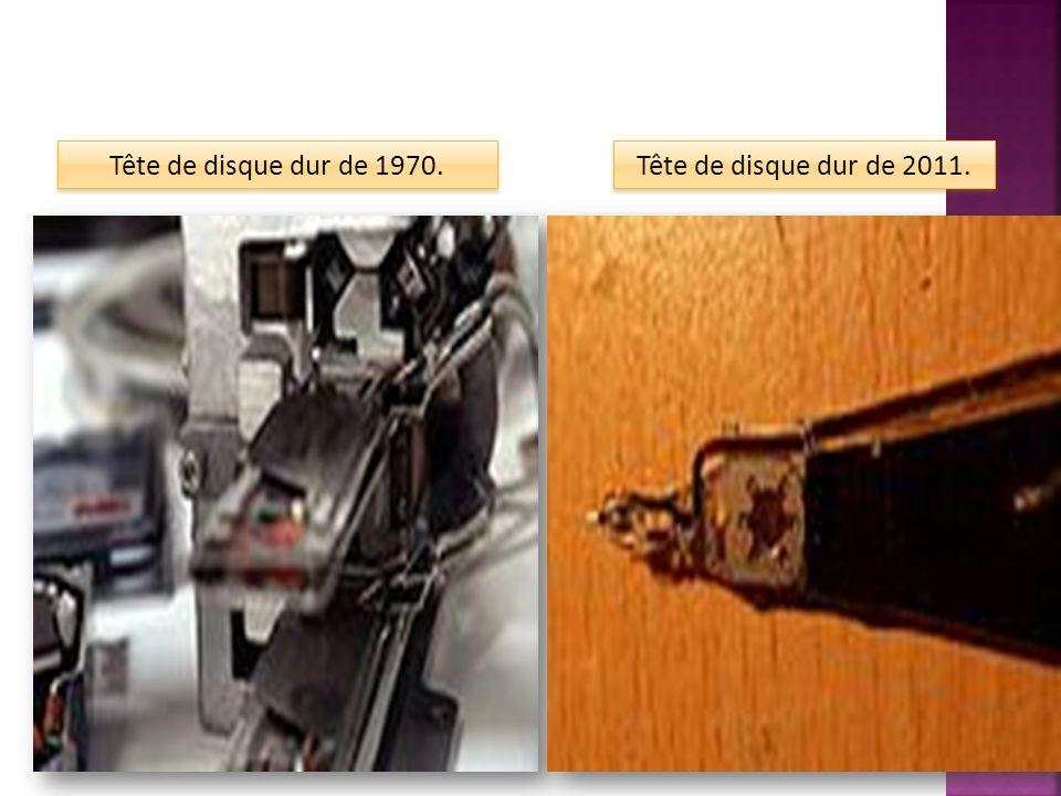 Tête de disque dur de 2011. Tête de disque dur de 1970.