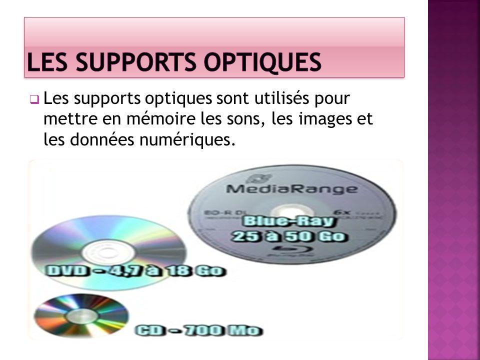 Les supports optiques sont utilisés pour mettre en mémoire les sons, les images et les données numériques.
