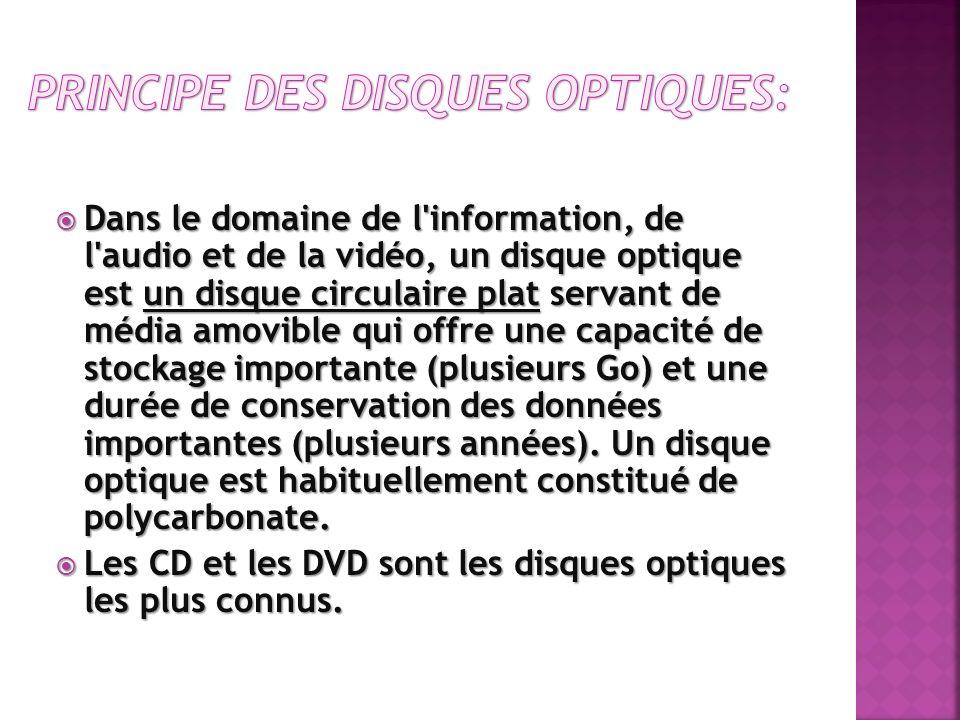 Dans le domaine de l'information, de l'audio et de la vidéo, un disque optique est un disque circulaire plat servant de média amovible qui offre une c