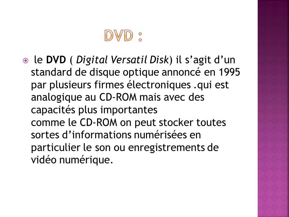 le DVD ( Digital Versatil Disk) il sagit dun standard de disque optique annoncé en 1995 par plusieurs firmes électroniques.qui est analogique au CD-RO