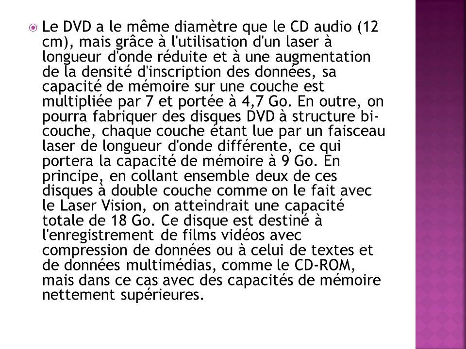 Le DVD a le même diamètre que le CD audio (12 cm), mais grâce à l'utilisation d'un laser à longueur d'onde réduite et à une augmentation de la densité