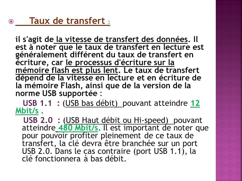 Taux de transfert : il s'agit de la vitesse de transfert des données. Il est à noter que le taux de transfert en lecture est généralement différent du