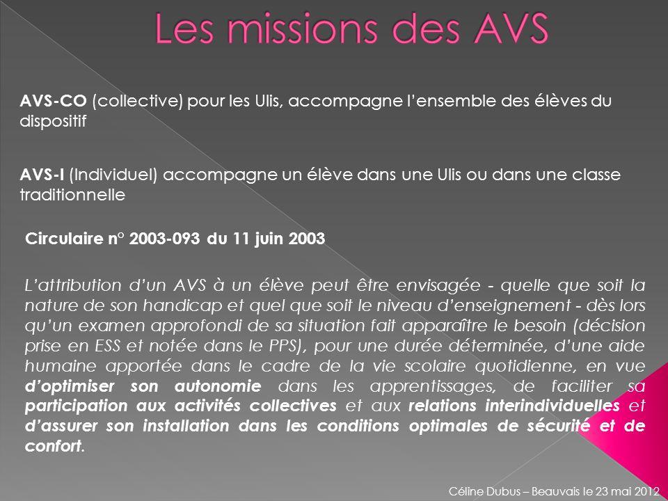 AVS-CO (collective) pour les Ulis, accompagne lensemble des élèves du dispositif Circulaire n° 2003-093 du 11 juin 2003 Lattribution dun AVS à un élèv