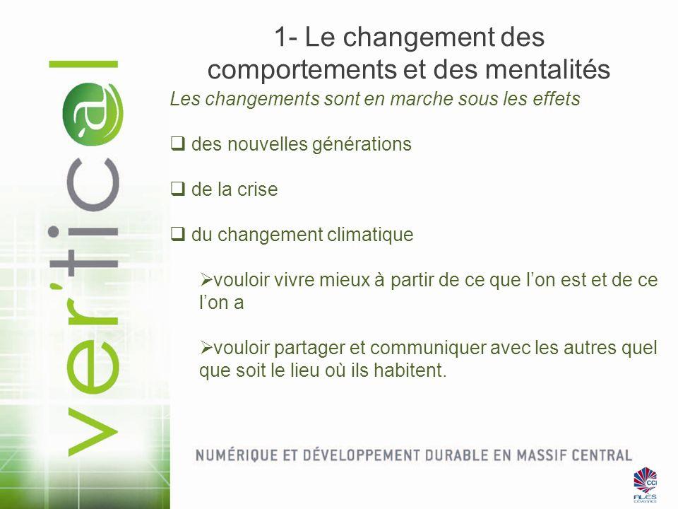 1- Le changement des comportements et des mentalités Les changements sont en marche sous les effets des nouvelles générations de la crise du changemen