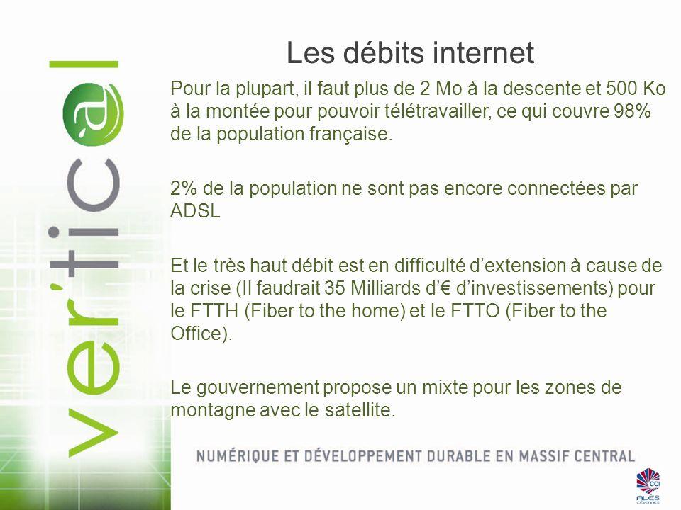 Les débits internet Pour la plupart, il faut plus de 2 Mo à la descente et 500 Ko à la montée pour pouvoir télétravailler, ce qui couvre 98% de la pop