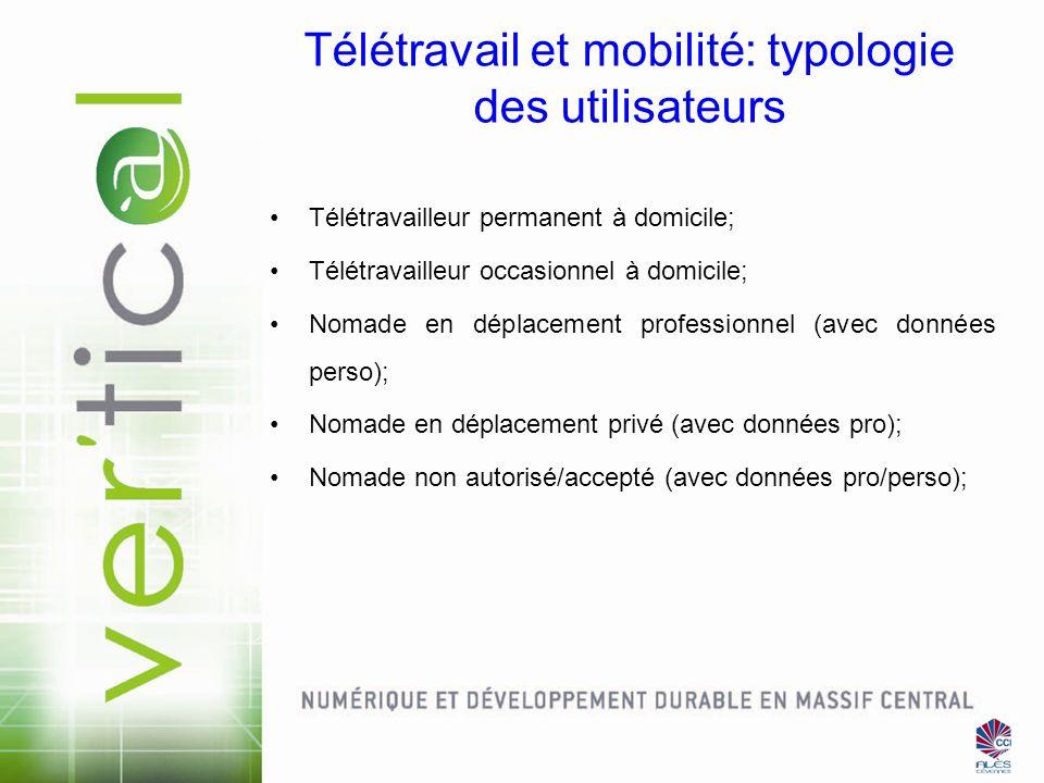 Télétravail et mobilité: typologie des utilisateurs Télétravailleur permanent à domicile; Télétravailleur occasionnel à domicile; Nomade en déplacemen
