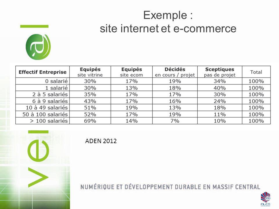 Exemple : site internet et e-commerce ADEN 2012