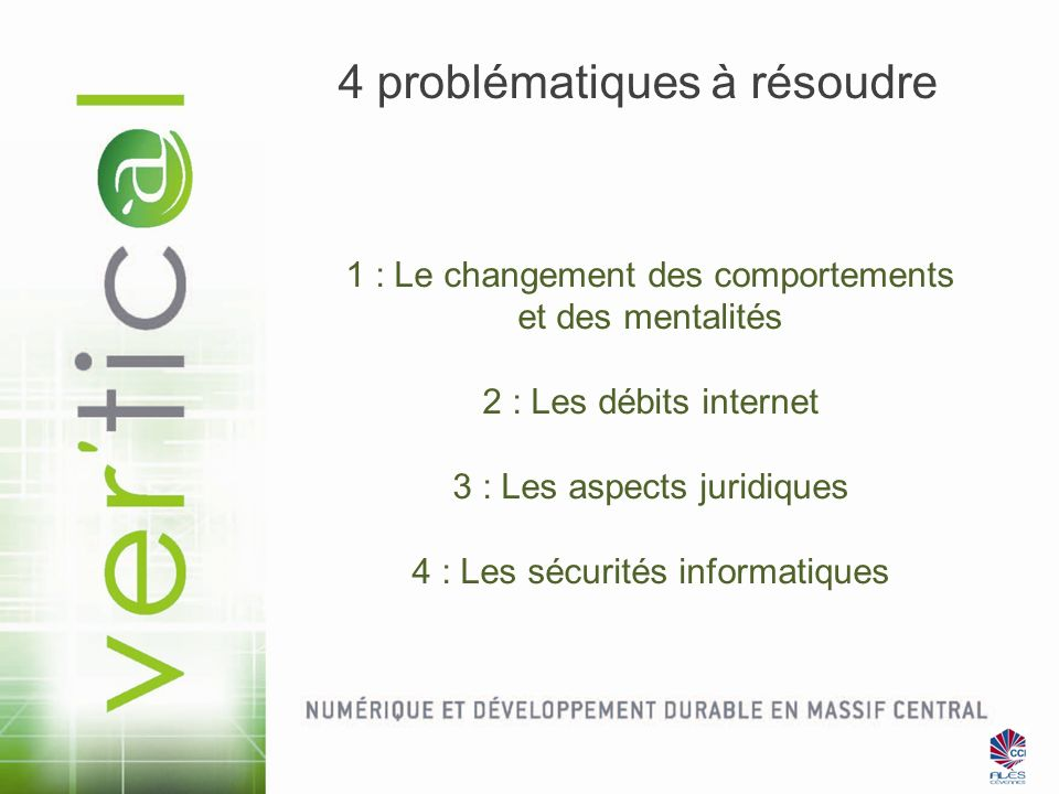 4 problématiques à résoudre 1 : Le changement des comportements et des mentalités 2 : Les débits internet 3 : Les aspects juridiques 4 : Les sécurités