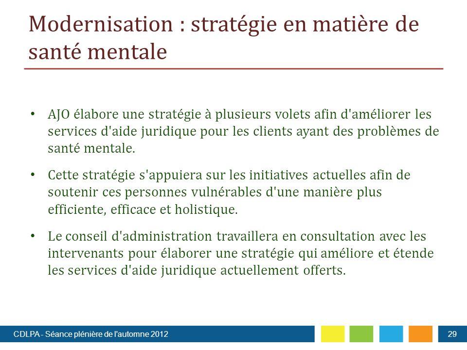 Modernisation : stratégie en matière de santé mentale AJO élabore une stratégie à plusieurs volets afin d améliorer les services d aide juridique pour les clients ayant des problèmes de santé mentale.