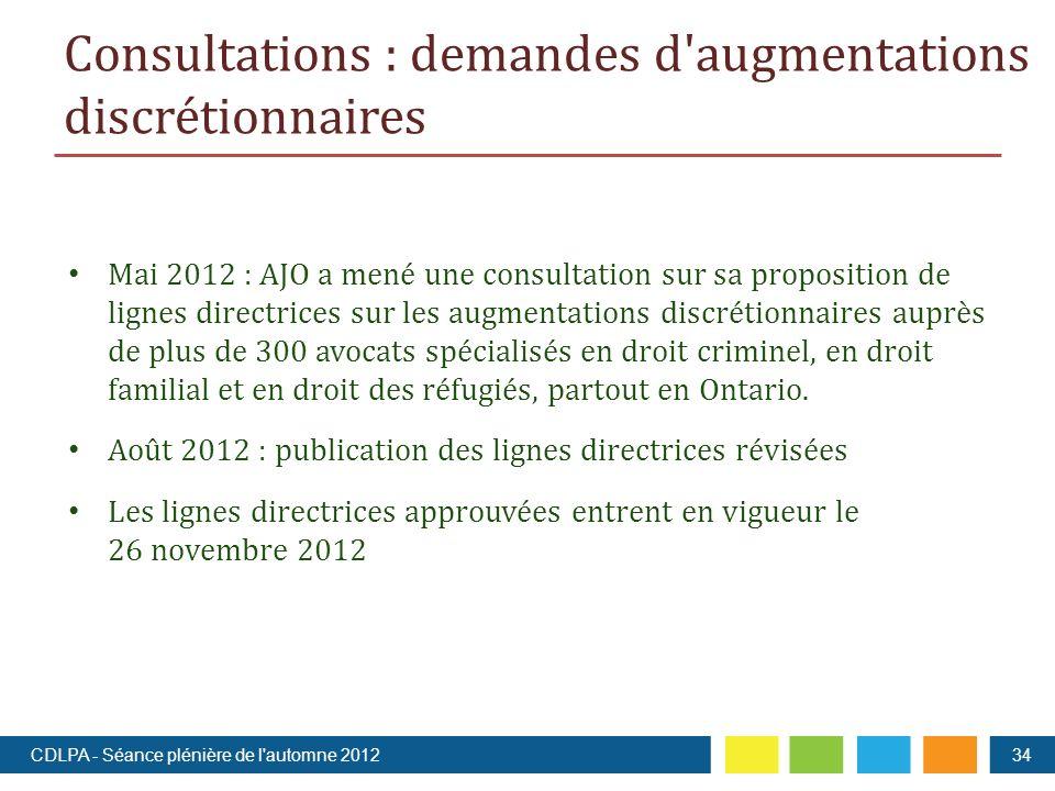 Mai 2012 : AJO a mené une consultation sur sa proposition de lignes directrices sur les augmentations discrétionnaires auprès de plus de 300 avocats spécialisés en droit criminel, en droit familial et en droit des réfugiés, partout en Ontario.