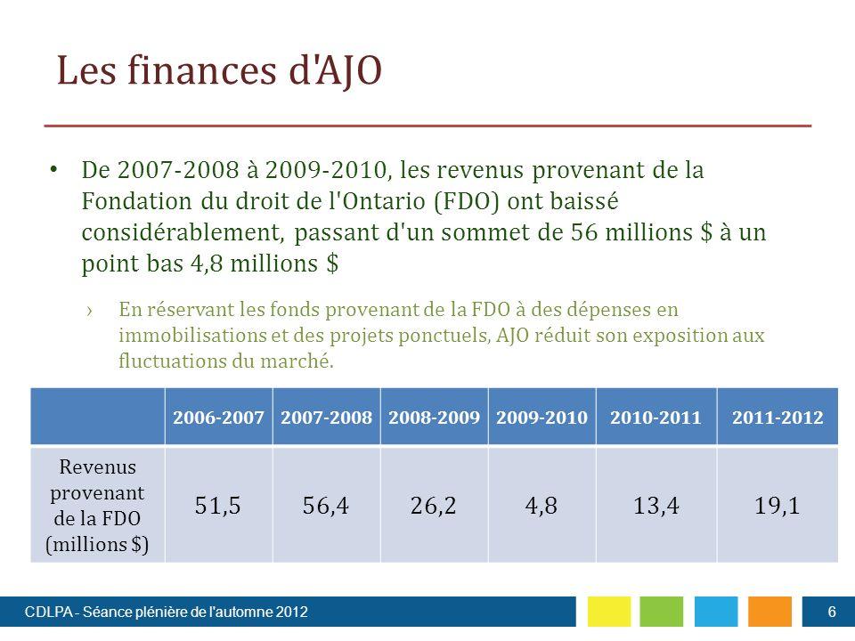 Les finances d AJO De 2007-2008 à 2009-2010, les revenus provenant de la Fondation du droit de l Ontario (FDO) ont baissé considérablement, passant d un sommet de 56 millions $ à un point bas 4,8 millions $ En réservant les fonds provenant de la FDO à des dépenses en immobilisations et des projets ponctuels, AJO réduit son exposition aux fluctuations du marché.