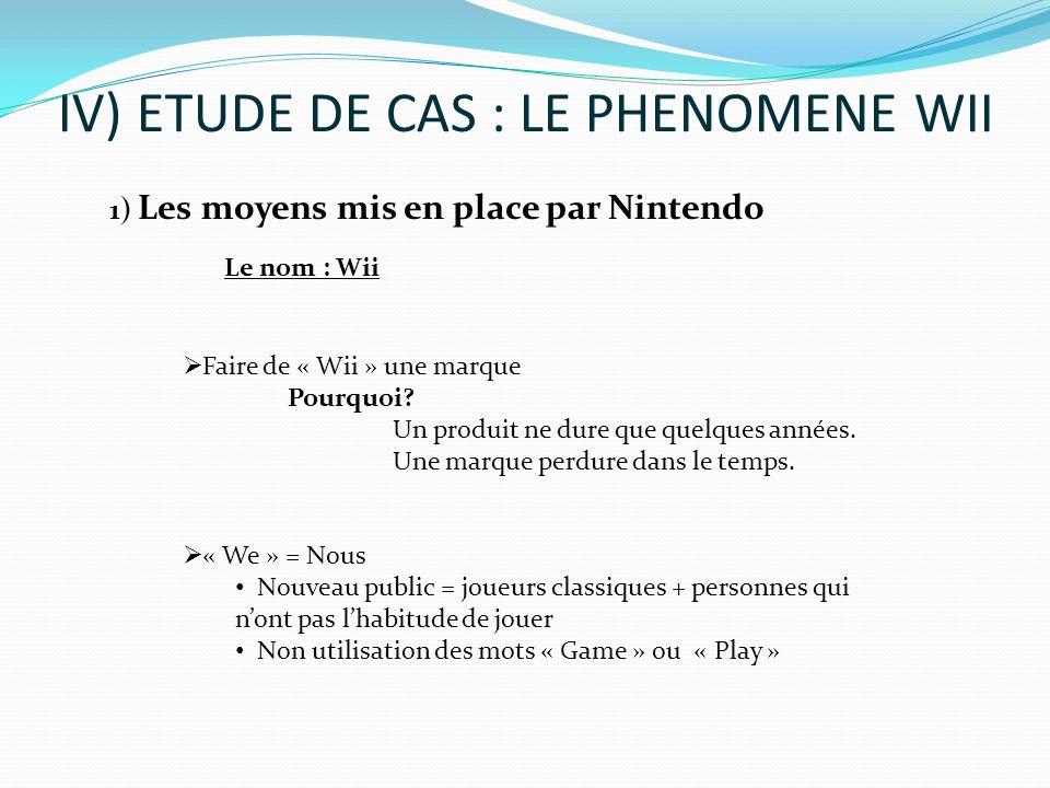 IV) ETUDE DE CAS : LE PHENOMENE WII Faire de « Wii » une marque Pourquoi? Un produit ne dure que quelques années. Une marque perdure dans le temps. «