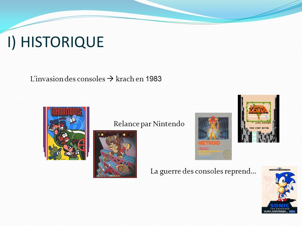 Linvasion des consoles krach en 1983 Relance par Nintendo La guerre des consoles reprend… I) HISTORIQUE