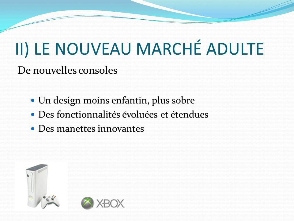 II) LE NOUVEAU MARCHÉ ADULTE De nouvelles consoles Un design moins enfantin, plus sobre Des fonctionnalités évoluées et étendues Des manettes innovant