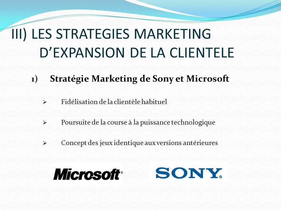 1) Stratégie Marketing de Sony et Microsoft Fidélisation de la clientèle habituel Poursuite de la course à la puissance technologique Concept des jeux