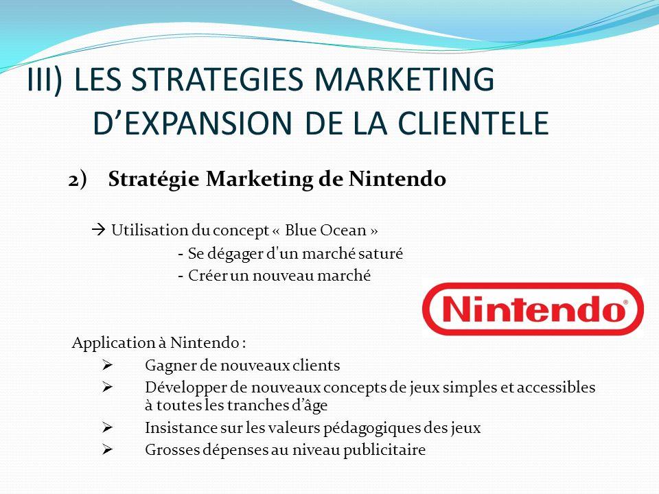 2) Stratégie Marketing de Nintendo Utilisation du concept « Blue Ocean » - Se dégager d'un marché saturé - Créer un nouveau marché Application à Ninte