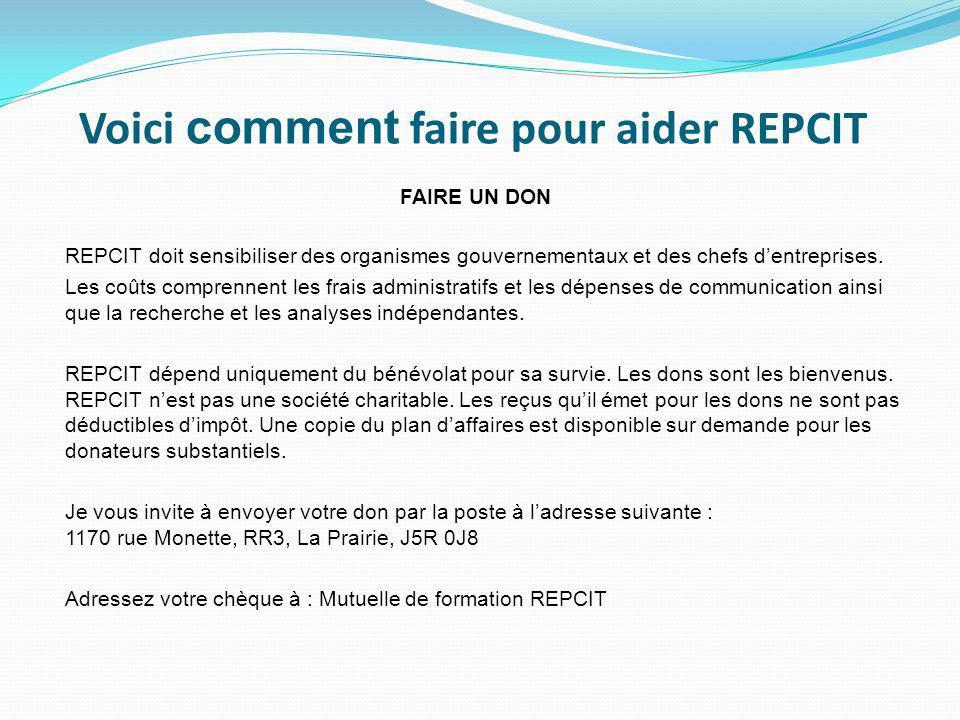 REPCIT est un accompagnateur pour les PME par loffre de services de soutien et dencadrement afin de favoriser, valoriser et reconnaître les compétence