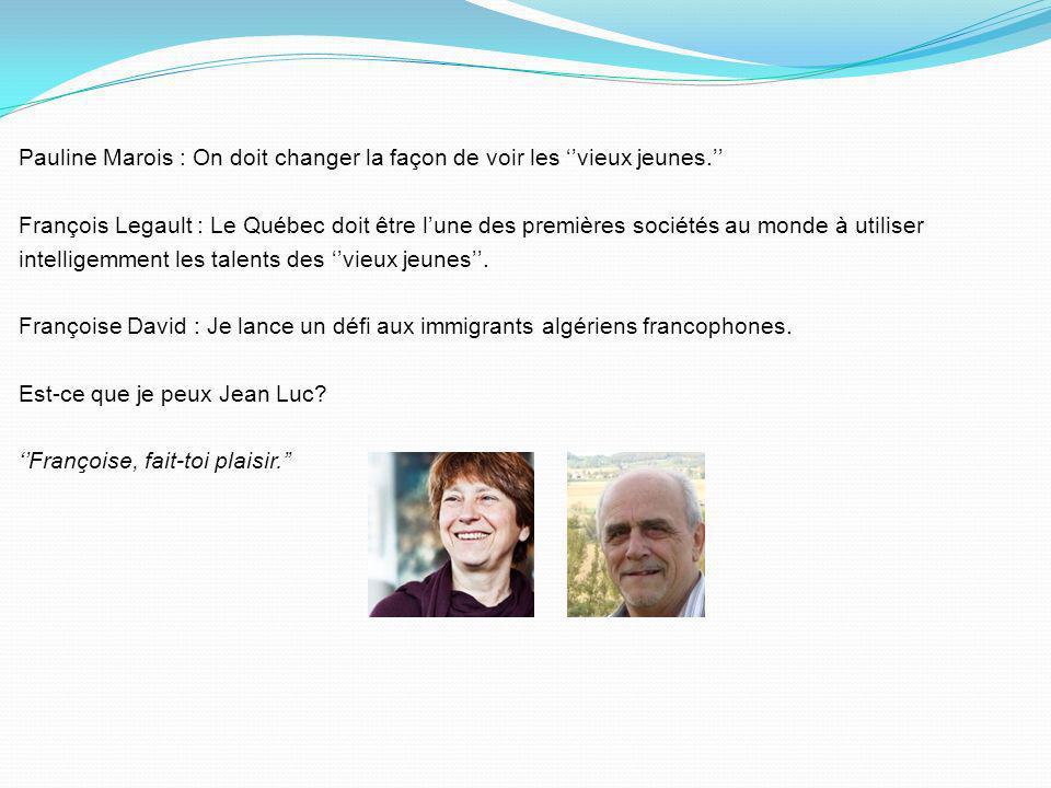 Pauline Marois : Concernant lemploi, Jean Charest a insisté sur cinq choses… Jean Charest : Pauline, jaimerais parler des cinq choses … François Legau