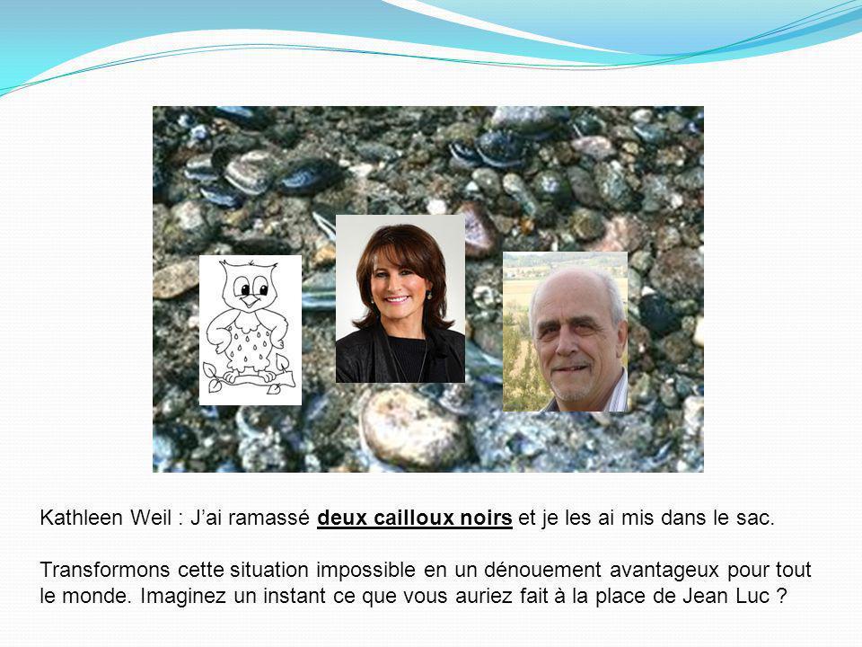 Kathleen Weil : Jai rencontré Jean Luc lors dune conférence de presse. Je lui ai suggéré le hasard comme solution pour régler le problème dintégration