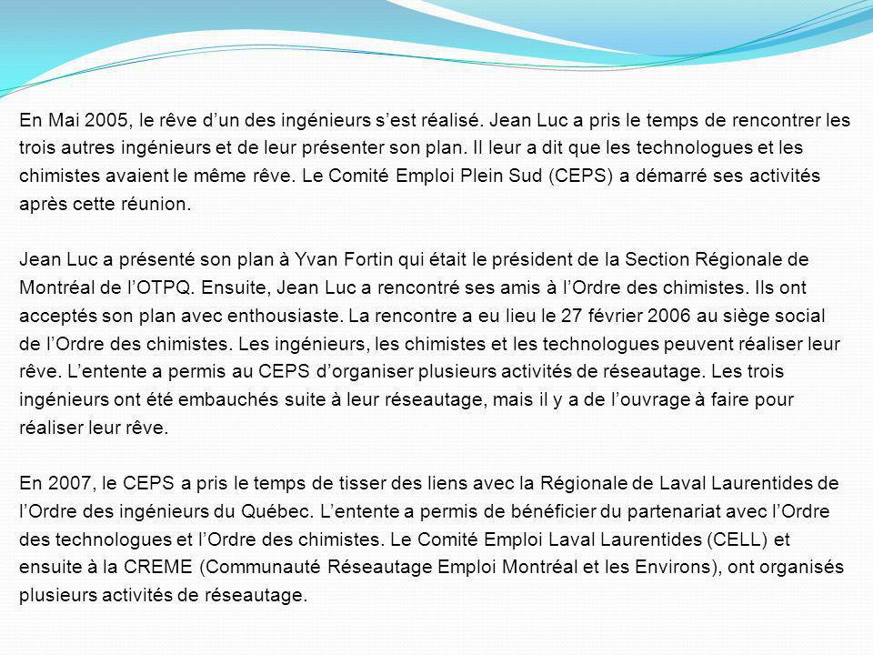 En 1999, Jean Luc a créé le service de placement de lOrdre des chimistes du Québec. En 2000, il a conçu LOOK4CV avec Benoît Sperano et son équipe. En