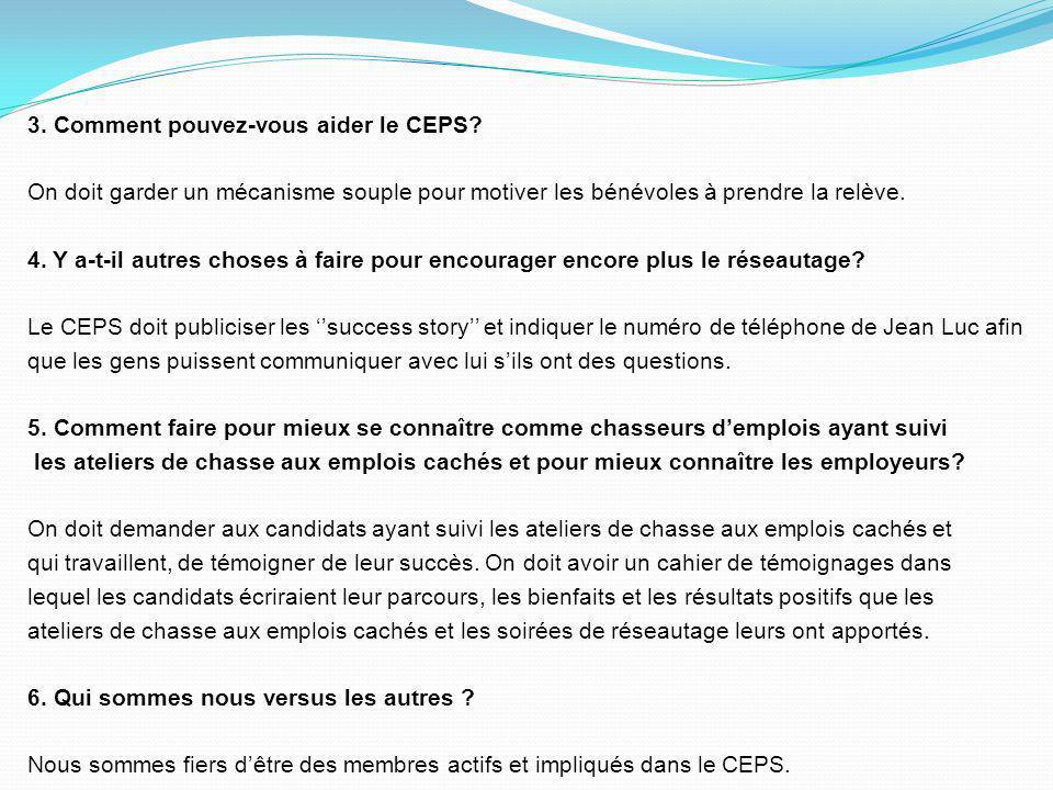 1- Quest-ce que vous aimez des activités du CEPS? Nous aimons la fréquence des activités de réseautage aux six semaines et on na pas peur de dire ce q