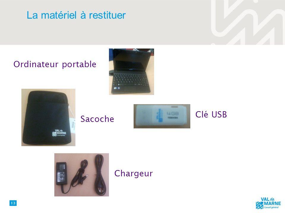 La matériel à restituer 13 Ordinateur portable Sacoche Clé USB Chargeur