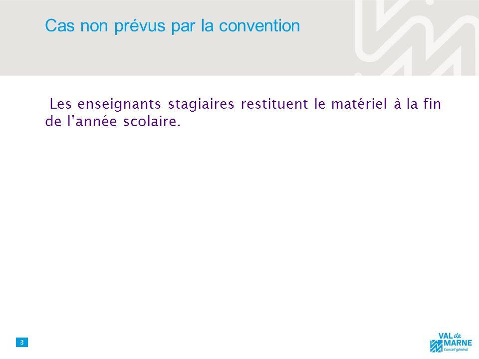 Cas non prévus par la convention Les enseignants stagiaires restituent le matériel à la fin de lannée scolaire.