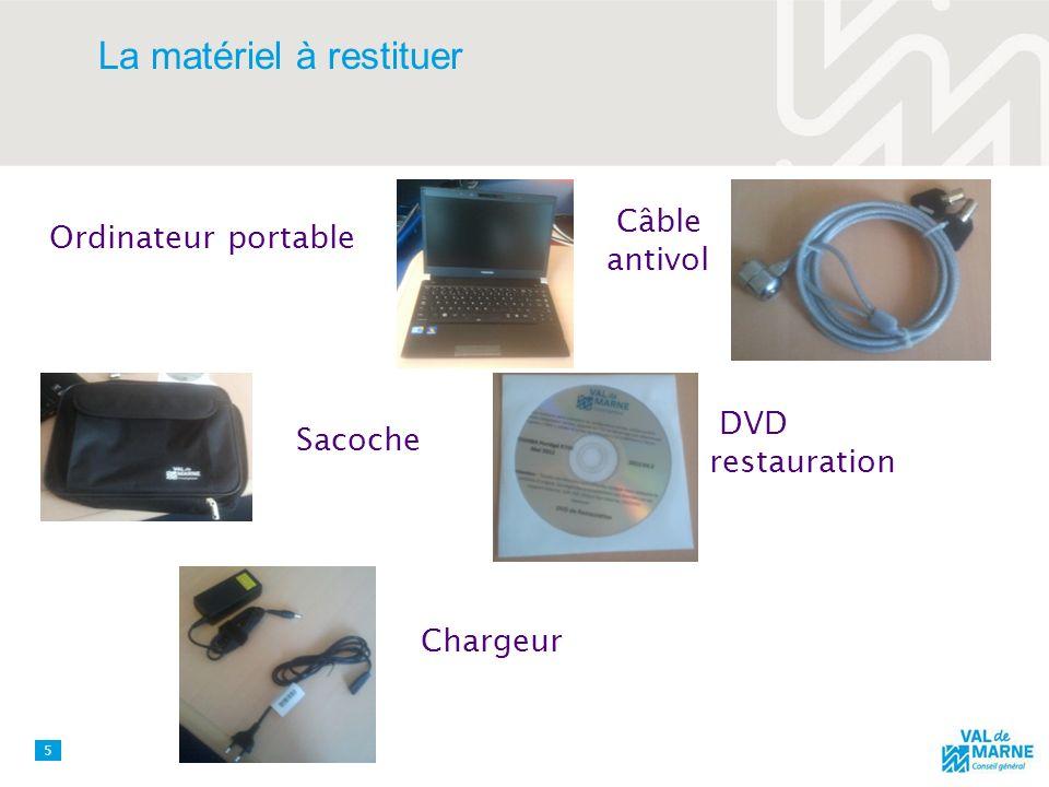 La matériel à restituer 5 Ordinateur portable Sacoche Câble antivol DVD restauration Chargeur