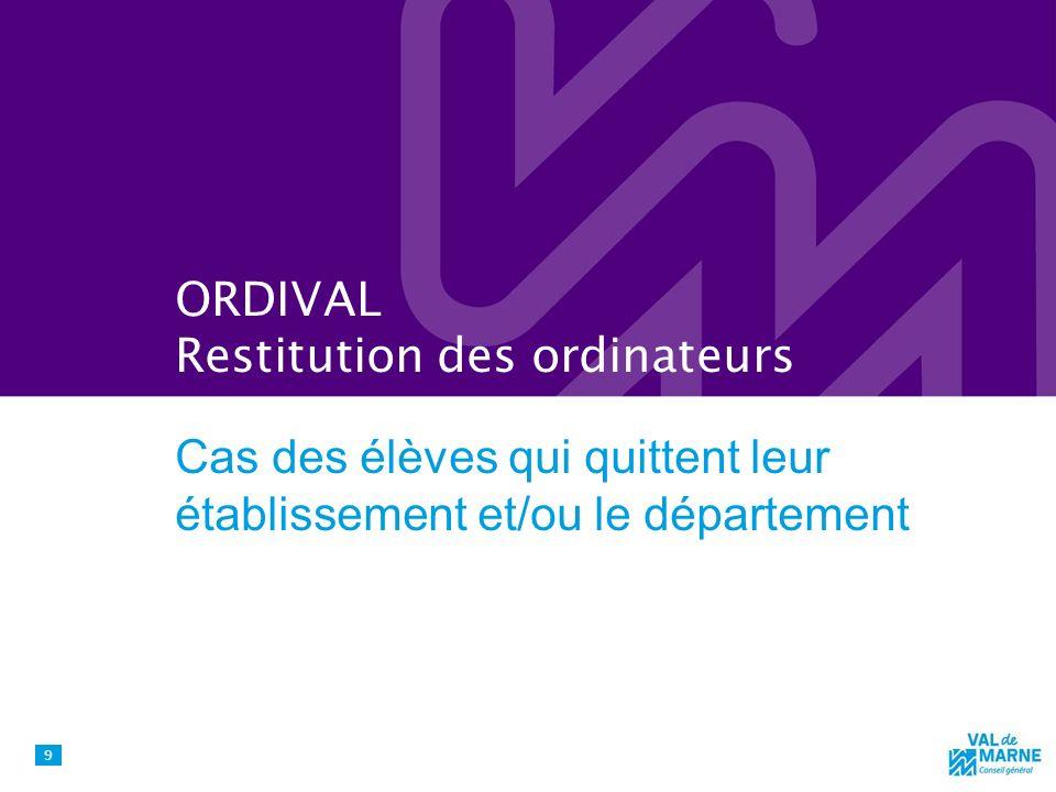 ORDIVAL Restitution des ordinateurs Cas des élèves qui quittent leur établissement et/ou le département 9