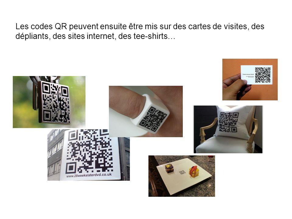 Les codes QR peuvent ensuite être mis sur des cartes de visites, des dépliants, des sites internet, des tee-shirts…