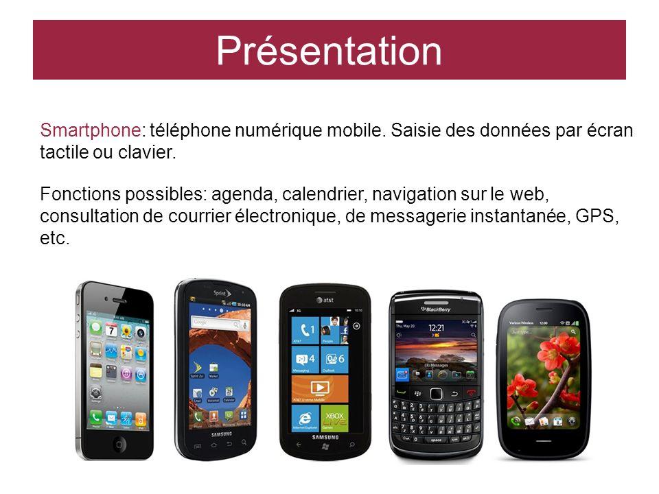 Smartphone: téléphone numérique mobile. Saisie des données par écran tactile ou clavier. Fonctions possibles: agenda, calendrier, navigation sur le we