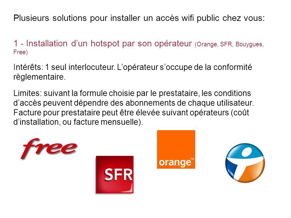 Plusieurs solutions pour installer un accès wifi public chez vous: 1 - Installation dun hotspot par son opérateur (Orange, SFR, Bouygues, Free) Intérê