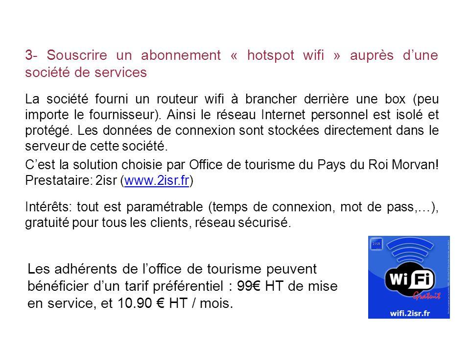 3- Souscrire un abonnement « hotspot wifi » auprès dune société de services La société fourni un routeur wifi à brancher derrière une box (peu importe