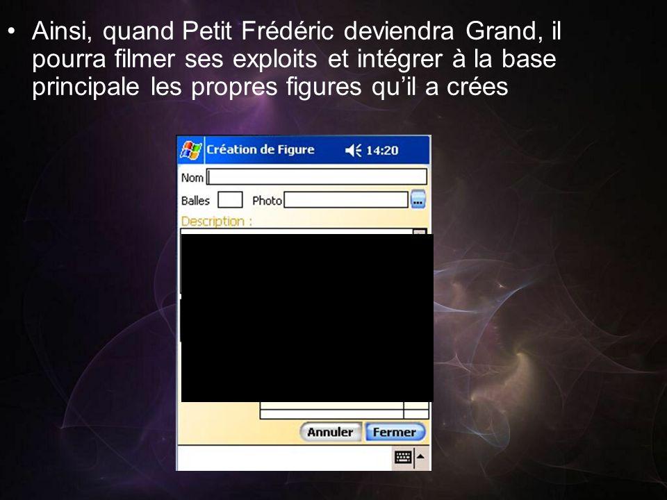 Ainsi, quand Petit Frédéric deviendra Grand, il pourra filmer ses exploits et intégrer à la base principale les propres figures quil a crées
