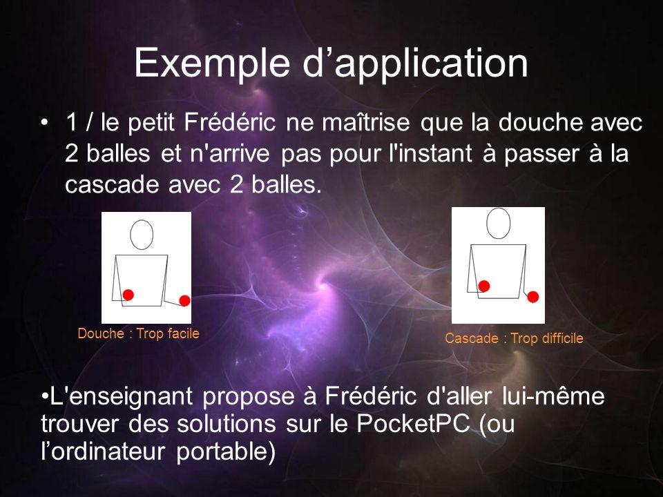 Exemple dapplication 1 / le petit Frédéric ne maîtrise que la douche avec 2 balles et n'arrive pas pour l'instant à passer à la cascade avec 2 balles.