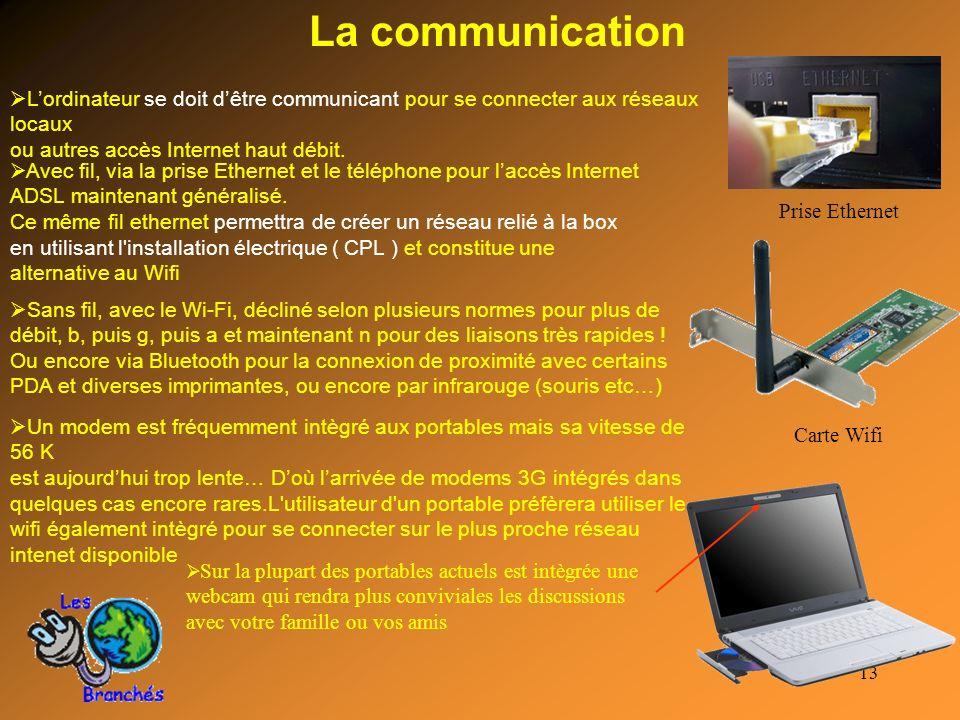 13 La communication Lordinateur se doit dêtre communicant pour se connecter aux réseaux locaux ou autres accès Internet haut débit. Avec fil, via la p