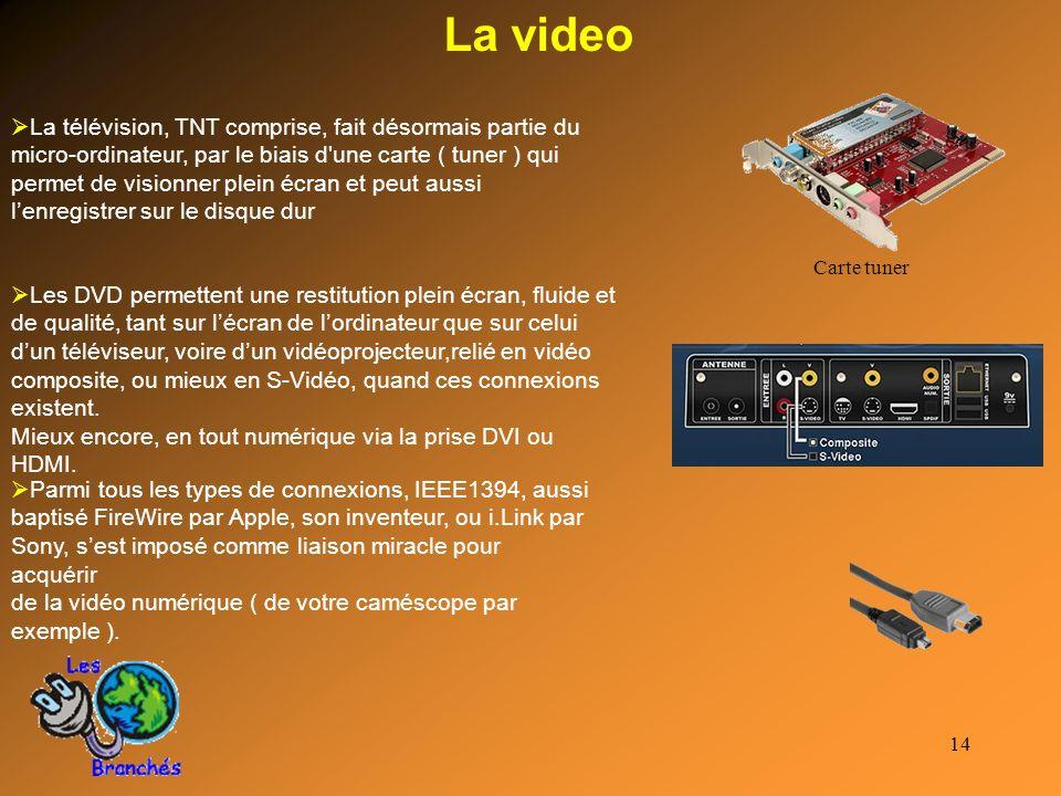 14 La video La télévision, TNT comprise, fait désormais partie du micro-ordinateur, par le biais d'une carte ( tuner ) qui permet de visionner plein é