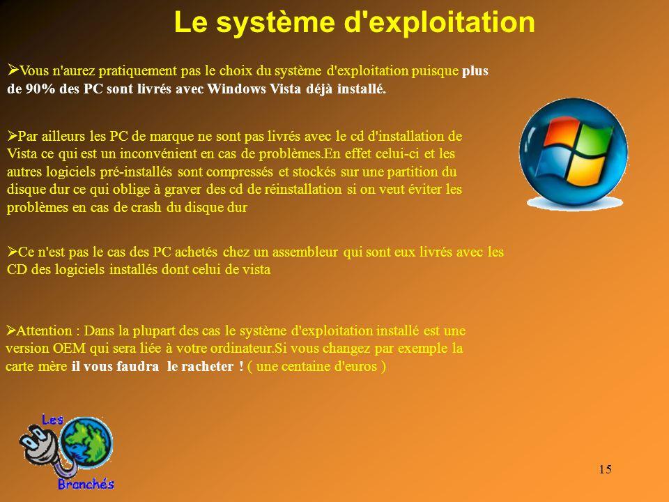 15 Le système d'exploitation Vous n'aurez pratiquement pas le choix du système d'exploitation puisque plus de 90% des PC sont livrés avec Windows Vist
