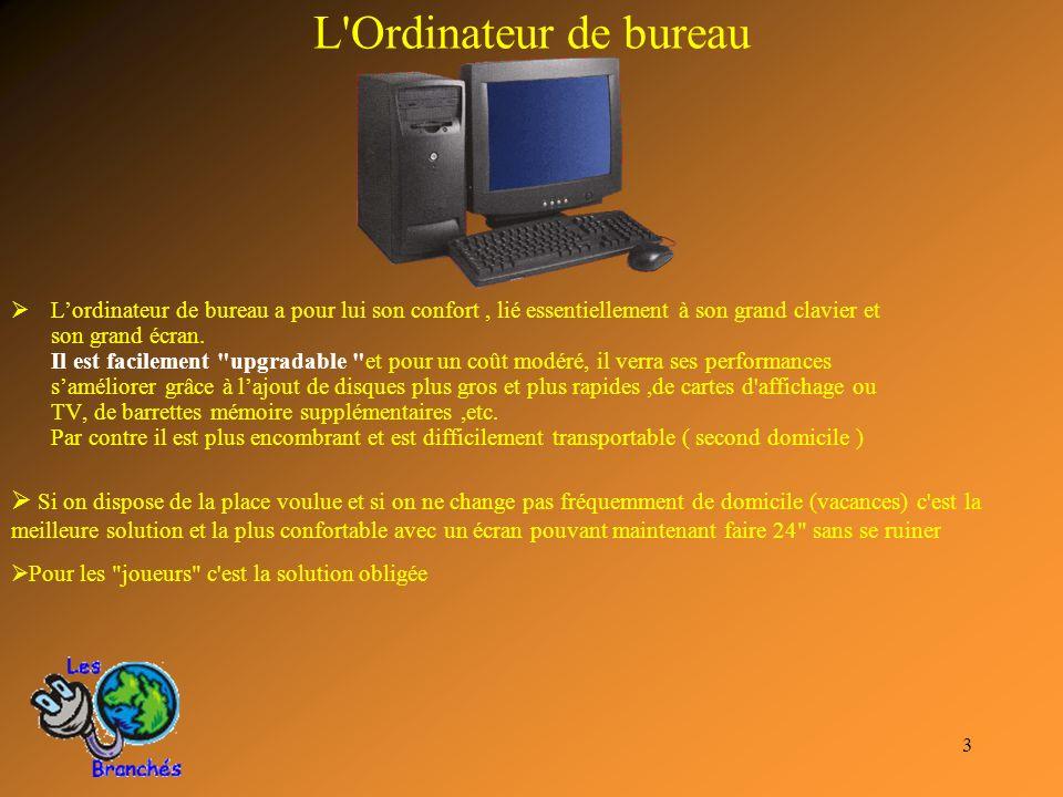 3 L'Ordinateur de bureau Lordinateur de bureau a pour lui son confort, lié essentiellement à son grand clavier et son grand écran. Il est facilement