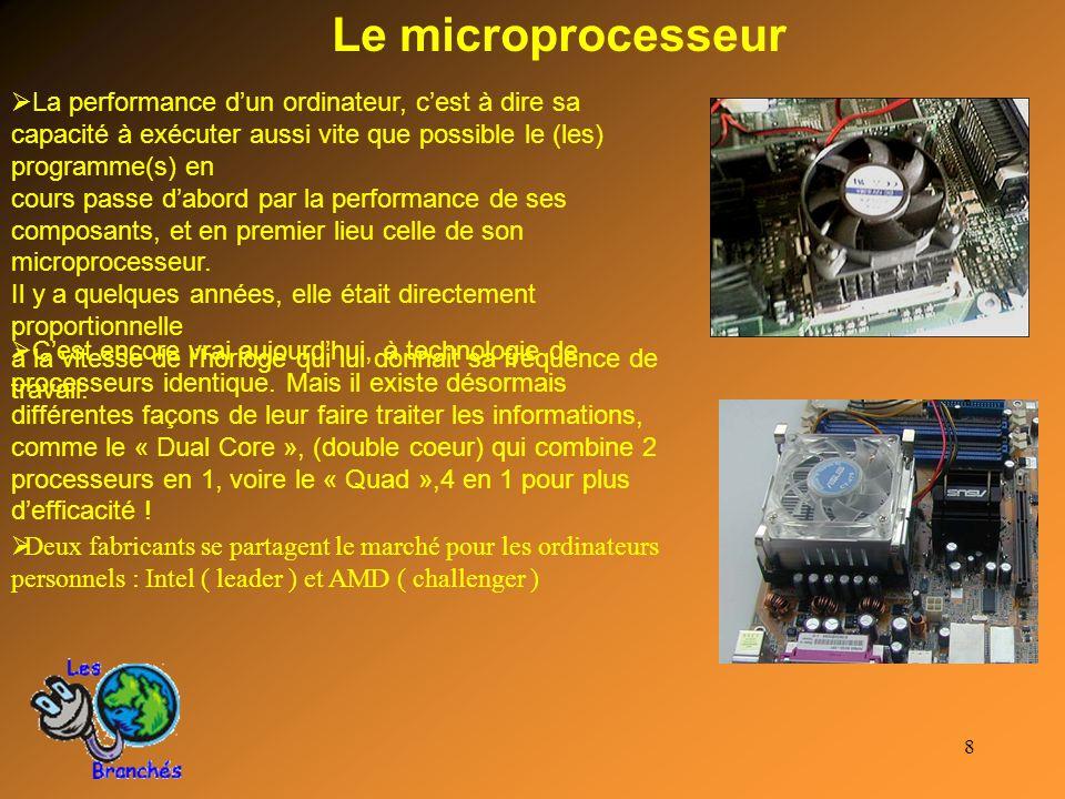 8 Le microprocesseur La performance dun ordinateur, cest à dire sa capacité à exécuter aussi vite que possible le (les) programme(s) en cours passe da