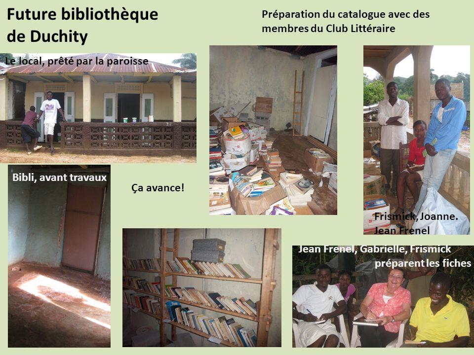 Future bibliothèque de Duchity Préparation du catalogue avec des membres du Club Littéraire Le local, prêté par la paroisse Bibli, avant travaux Frismick, Joanne.