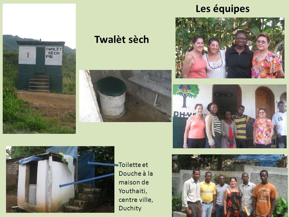 Les équipes Twalèt sèch Toilette et Douche à la maison de Youthaiti, centre ville, Duchity