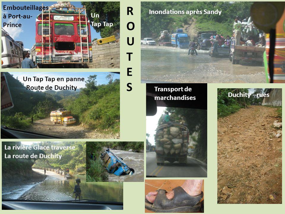 ROUTESROUTES Un Tap Inondations après Sandy Embouteillages à Port-au- Prince Un Tap Tap en panne Route de Duchity Duchity --rues Transport de marchandises La rivière Glace traverse La route de Duchity