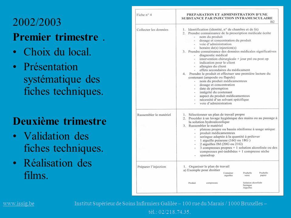 2002/2003 Premier trimestre. Choix du local. Présentation systématique des fiches techniques. Deuxième trimestre Validation des fiches techniques. Réa